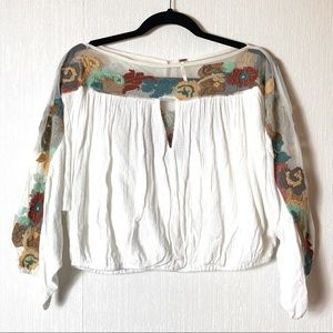 Free People Boho Cropped Embroidered Sleeve Top S